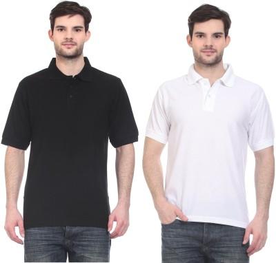 Blue-Tuff Solid Men,s Polo Neck Black, White T-Shirt