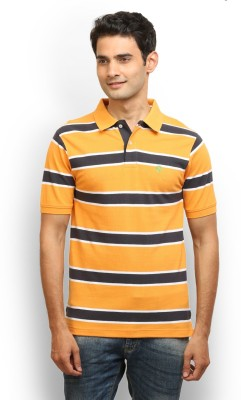 Thisrupt Striped Men's Polo Neck Orange T-Shirt