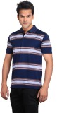Planet 69 Striped Men's Polo Neck Dark B...