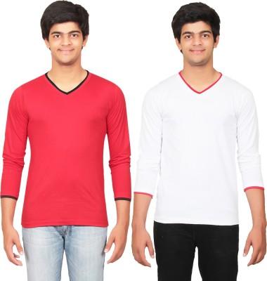 Graceful Self Design Men's V-neck Red, White T-Shirt