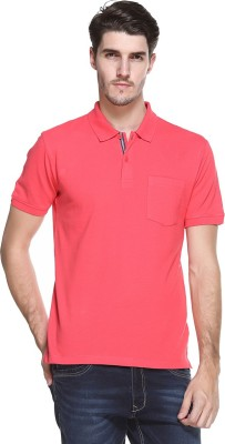 OCTAVE Solid Men's Polo Neck Red T-Shirt