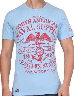 Stoke Graphic Print Men's Round Neck Light Blue T-Shirt