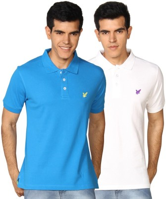 Provogue Solid Men's Polo Neck White, Blue T-Shirt