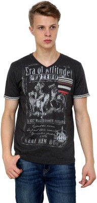 Era of Attitude Printed Men's V-neck Grey T-Shirt