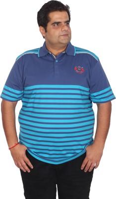 Xmex Striped Men's Polo Neck Blue T-Shirt