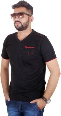 MjString Solid Men's V-neck Black T-Shirt