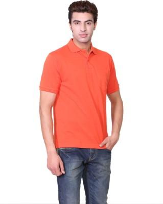 D-Green Solid Men's Polo Orange T-Shirt