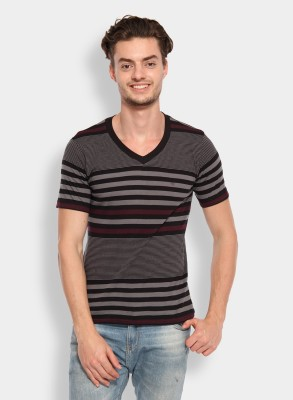 Calix Striped Men's V-neck Grey, Maroon T-Shirt