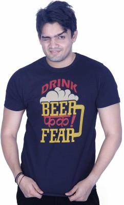 Ektarfaa Printed Men's Round Neck Dark Blue T-Shirt