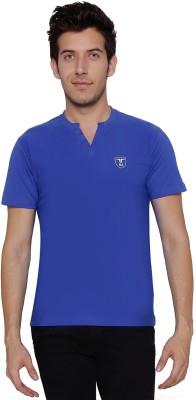 Threadz Embroidered Men's V-neck Blue T-Shirt