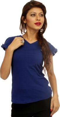 Adam n Eve Solid Women's V-neck Blue T-Shirt