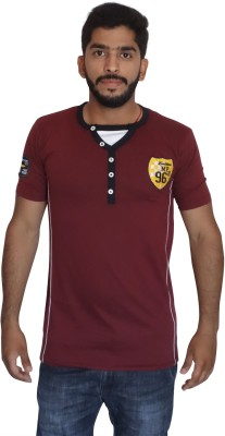 Uniqe Solid Men's Round Neck Maroon T-Shirt