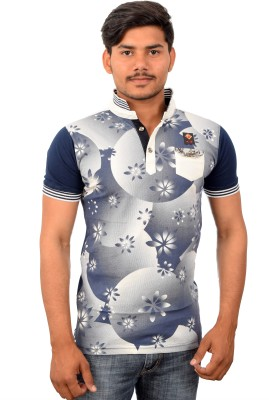 YOUTH & STYLE Floral Print Men's Draped Neck White, Blue T-Shirt