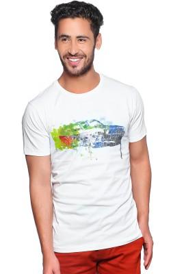 Nucode Graphic Print Men's Round Neck White T-Shirt