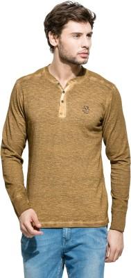 Mufti Solid Men's Henley Brown T-Shirt