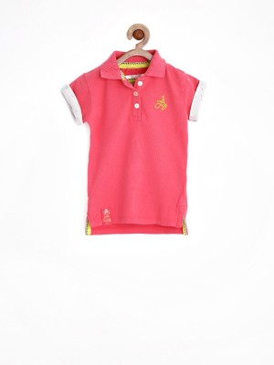 Jn Joy Solid Girl's Polo Neck Pink T-Shirt