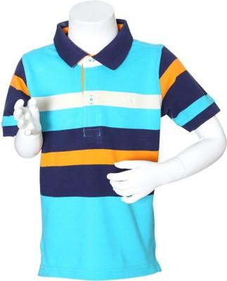 Allen Solly Striped Boy's Polo Neck Blue T-Shirt