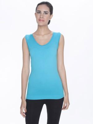 C9 Solid Women's Round Neck Light Blue T-Shirt