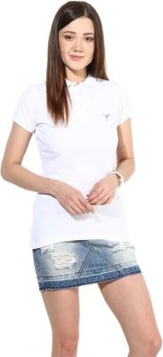 Calgari Solid Women's Polo Neck White T-Shirt