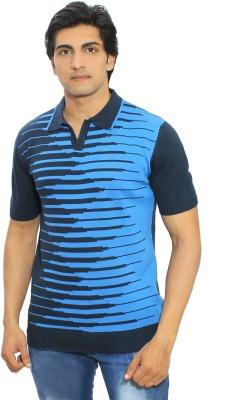 Thread Craft Graphic Print Men's Polo Neck Blue T-Shirt