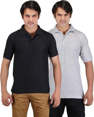 Aqua Solid Men's Polo Neck Black, Grey T-Shirt