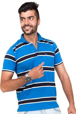 Furious Active Striped Men's Flap Collar Neck Blue, Black T-Shirt