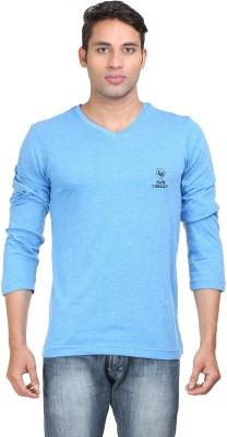 John Caballo Solid Men's V-neck Blue T-Shirt