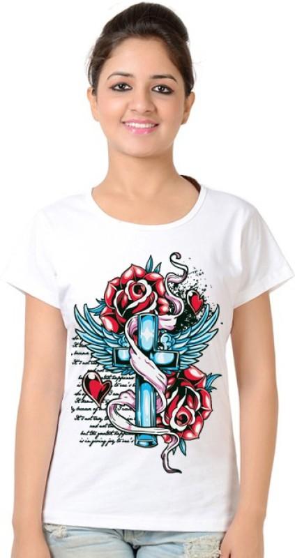 Neevov Printed Women's Round Neck White T-Shirt