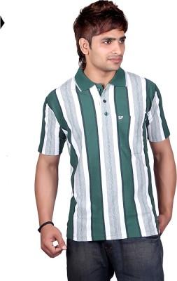 Dearclass Striped Men's Polo Neck Green T-Shirt