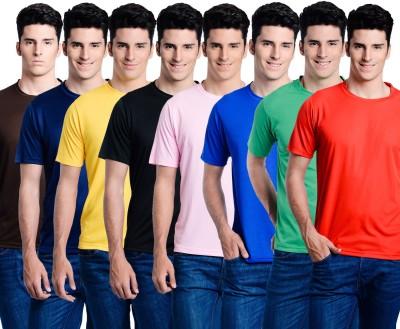 Superjoy Solid Men's Round Neck Brown, Green, Red T-Shirt