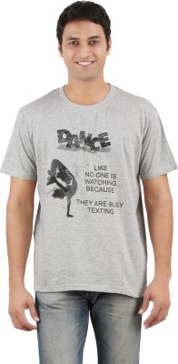 Merica Printed Men's Round Neck Grey T-Shirt