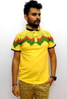 Indiano Printed Men,s Mandarin Collar Yellow T-Shirt