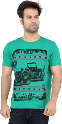 Cod Jeans Printed Men's Round Neck Green T-Shirt