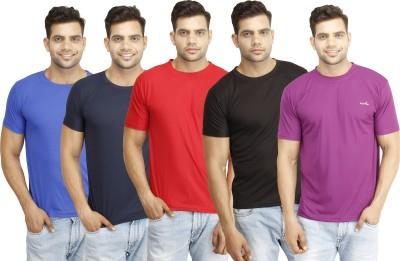 Eprilla Solid Men,s Round Neck Black, Red, Dark Blue, Purple, Blue T-Shirt