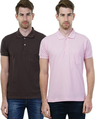 Seaboard Solid Men's Polo Neck Brown, Pink T-Shirt