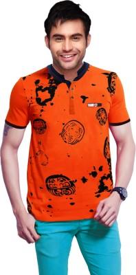 Gallop Printed Men's Polo Neck Orange T-Shirt