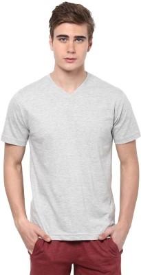 Xarans Solid Men's V-neck Grey T-Shirt