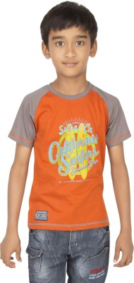 Ocean Race Printed Boy's Round Neck Orange, Brown T-Shirt