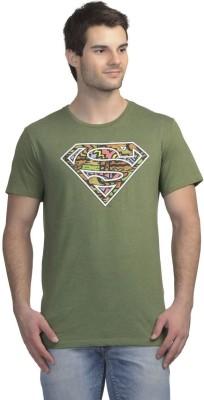 Superman Printed Men's Round Neck Dark Green T-Shirt