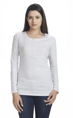 Defossile Solid Women's V-neck White T-Shirt