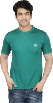 French Circle Solid Men's Round Neck Green T-Shirt