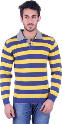 Dezyn Striped Men's Polo Neck Blue, Yellow T-Shirt
