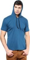 Izinc Solid Men's Hooded Light Blue T-Shirt