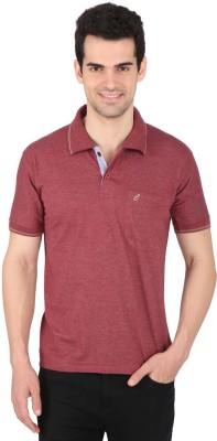 Illicit Nation Solid Men's Flap Collar Neck Maroon T-Shirt