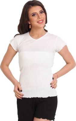 Slumber Jill Solid Women,s V-neck White T-Shirt