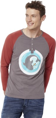 Chumbak Printed Men's Henley Grey T-Shirt