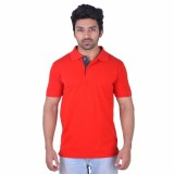 Obvio Woven Men's Polo Neck Red T-Shirt