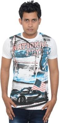 Lampara Graphic Print Men's Round Neck White T-Shirt