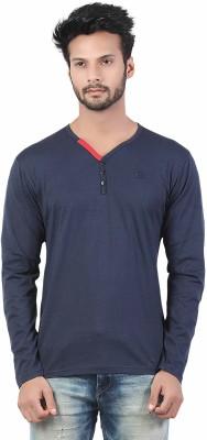 Afylish Solid Men's Henley Blue T-Shirt