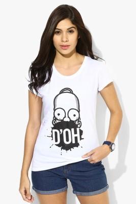 Simpsons Graphic Print Women's Round Neck White T-Shirt